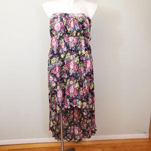 Torrid Challis Floral Strapless Hi Low Dress Large